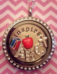 Teacher Appreciation Locket!  Large Silver locket with crystals, Inspire Plate, Red Apple, Love to Read, Silver Cross, A, B, C charms.  Perfect for a Teacher Appreciation gift!