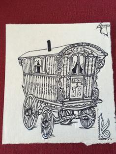 Pen and ink, Georgina Jill Bolas Traverso, Gypsy Caravan, Gypsy Wagon, Dad Tattoos, Tatoos, Embroidery Ideas, Hand Embroidery, Wood Carving For Beginners, Bristol England, Van Design