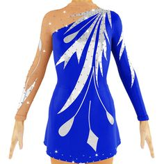 New beautiful figure skating dress, rhythmic gymnastics leotard  Handmade in Ukraine.  Made of royal blue lycra with silver parts and beige mesh. Decorated with shiny crystals - 450 pieces  This is pre-order item. After receiving cleared payment and confirming all measurements I will start to create a costume. Creating of costume takes 10-15 business days for one + shipping time.  It is possible to do custom leaotards with another colors and sizes.  Please send me the next measurements (also…