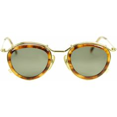 Jean Paul Gaultier 56 2271 golden tortoise round steampunk vintage... ($674) ❤ liked on Polyvore featuring vintage round sunglasses, thick rimmed glasses, round tortoiseshell sunglasses, tortoiseshell sunglasses and tortoise shell sunglasses