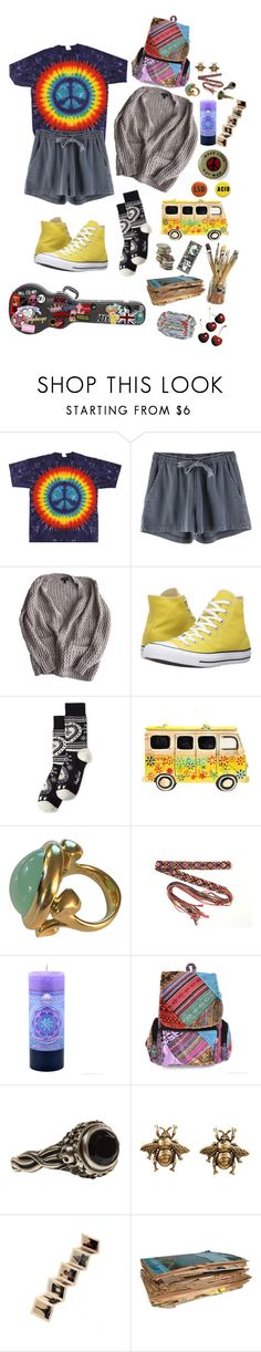 """""""happy lil hippie"""" by uxly ❤ liked on Polyvore featuring Topshop, Converse, Happy Socks, Jade Jagger, Yochi and Rock 'N Rose"""