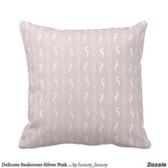 Delicate Seahorses Silver Pink Pastel Ocean Beach Cushion