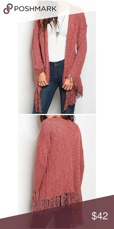 Fringed Cardigan LONG SLEEVE FRINGE CABLE KNIT OPEN LOOSE FIT CARDIGAN Fabric Content: 70% ACRYLIC 25% POLYESTER 5% SPANDEX Sweaters Cardigans