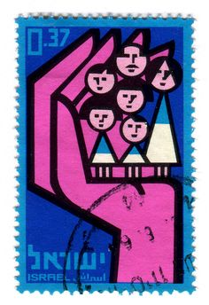 https://flic.kr/p/7eZH12 | Israel Postage Stamp: Large Families | catalog #312, c. 1964 part of the 10th Anniversary of National Insurance series.   Designed by E. Weishoff