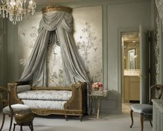 Beautiful Chinoserie Wallpaper To Make Room In Your Home Look More Classy: Traditional Bedroom With The Curtains Behind The Queen Anne Couch And Chinoserie Wallpaper Behind That ~ buymyshitpile.com Art Deco Home Designs Inspiration