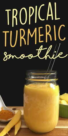 Delicious taste meets healing benefits in this Tropical Turmeric Smoothie! Just 4 simple ingredients including refreshing tropical fruits and the health benefits of turmeric come together to make a yummy, unique smoothie. Fruit Smoothies, Healthy Smoothies, Healthy Drinks, Smoothie Recipes, Eat Healthy, Drink Recipes, Simple Smoothies, Healthy Shakes, Blender Recipes