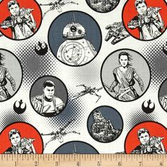 Star Wars The Force Awakens Badges White from @fabricdotcom  Designed by Star Wars & Lucasfilm and licensed to Camelot Fabrics, this cotton print is perfect for quilting, apparel and home decor accents.  Colors include white, grey, black, orange and denim blue.