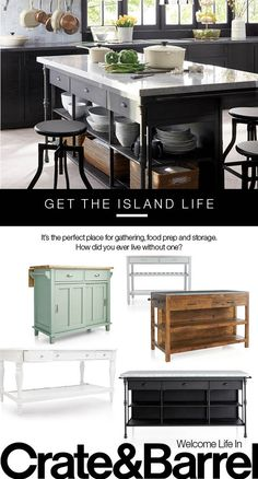 Find the right kitchen island to suit your style and space. Stylish Kitchen, Diy Kitchen Decor, Stylish Kitchen Island, Kitchen Remodel, Kitchen Decor, Interior Design Kitchen, Farmhouse Style Kitchen, Interior Design Living Room, Interior Design Bedroom