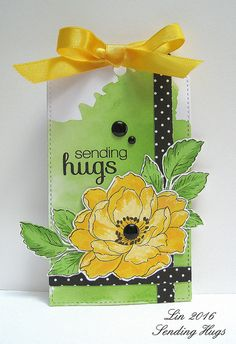 supplies: white cardstock, Amuse black and white dot dp, Altenew Beautiful Day flower and leaves, Simon Flower Friend sentiment, MFT DieNamics Stitched Tag, black enamel dots, yellow satin ribbon