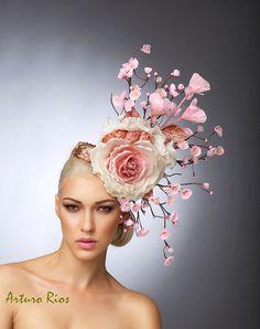 Pink Cherry Blossom Fascinator Blush Kopfstück von ArturoRios
