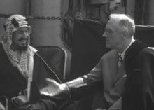 """Also discussed at the meeting is the issue of creating a Jewish homeland in Palestine. King Abd al-Aziz acknowledges the plight of the Jews, but argues taking part of Palestine is unfair to the Palestinians. In a letter to the king that Roosevelt sends after their meeting, the president writes: """"I will take no action which might prove hostile to the Arab people."""" But Roosevelt dies shortly after sending this letter and Vice President Harry Truman becomes president."""