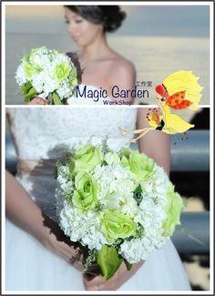 Handmade Bridal Bouquet  by MagicGarden Workshop 手作りの花嫁のブーケ (MagicGarden工房によって作られた)
