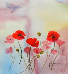 "Impressionistic Poppy Flower Art, Wall Art, Poppy Painting, Original Watercolor Painting, Home Decor, 12"" x 11"", Red Poppies, Poppy Joy via Etsy"