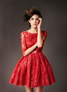 Red lace dress. 74