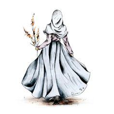 I love hijab . Girl Cartoon, Girly Art, Islamic Art, Hijab Drawing, Drawings, Art Girl, Art, Islamic Artwork, Cartoon Art