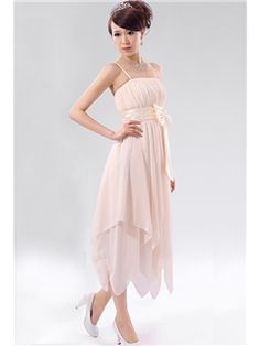 Flowing A-Line Spaghetti Straps Asymmetry Length Bowknot Homecoming Dress