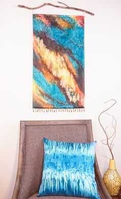 Pillow Cover Aqua Blue 18x18 Watercolor от WatercolorMuse1