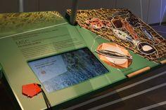 Interaktives Exponat / Hands-On. Gamification in der Ausstellung. Das Spiel auf dem Monitor wird mit dem orangenen  Spielstein aktiviert. Punkte werden auf dem Spielstein gespeichert. WattWelten Norderney.  Konzipiert und realisiert von Impuls-Design.