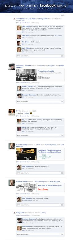 If Downton Abbey took place entirely on Facebook - Season 4, Episode 7 Recap.