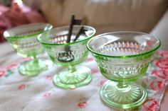 when I was a kid, my mom served us ice cream out of these green glass sherbet glasses, that's when I fell in love with Green Depression Glass!