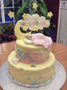 Stars and Moon Theme Baby Shower Cake