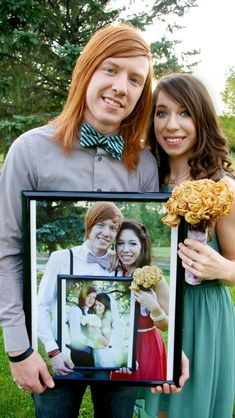 Anniversary photo. I'd love one of us holding a pic from when we eloped, dressed up for our 1 year reception!