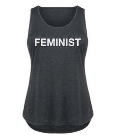 Love this Black 'Feminist' Tri-Blend Tank - Plus on #zulily! #zulilyfinds