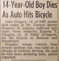 14-YEAR-OLD BOY DIES AS AUTO HITS BICYCLE (August 14, 1945) | Clippings from the DETROIT TIMES Times Newspaper, 14 Year Old, Old Boys, News Today, Detroit, Bicycle, Bike, Bicycle Kick, Bicycles
