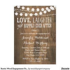Shop Rustic Wood Engagement Party Invitation created by seasidepapercompany. Personalize it with photos & text or purchase as is! Wood Wedding Invitations, Wood Invitation, Couples Shower Invitations, Engagement Party Invitations, Invitation Templates, Invitation Wording, Invitations Online, Floral Invitation, Invitation Ideas
