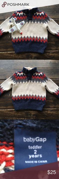 Gap Fair Isle Sweater Boy's 2T Gap sweater  Boy's 2T True to size  Excellent condition Sherpa lined collar GAP Shirts & Tops Sweaters