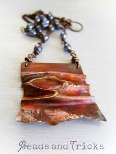 Wanderings {foldformed copper pendant, heat patina, freshwater pearls}