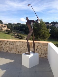 Golfer of Toni Mari..  This amazing sculpture just next to a golf placed by Art 9 Gallery.  Aslo available in different sizes
