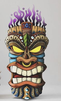 When it's time to light the Tiki Torches it's time to party the night away. Tiki Tattoo, Totem Tattoo, Cartoon Kunst, Cartoon Art, Tiki Maske, Arte Do Hip Hop, Tiki Head, Tiki Art, Tiki Tiki