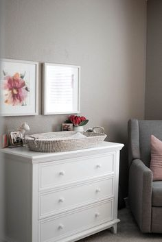 The 3 Drawer Nursery Dresser is the simple statement you're looking for to complete your nursery. It goes with several themes and decors to make your little one's home beautiful. Grey Nursery Furniture, Pink And Gray Nursery, Nursery Dresser, Girl Nursery, Nursery Decor, Ballerina Nursery, Chic Nursery, Floral Nursery, Room Decor