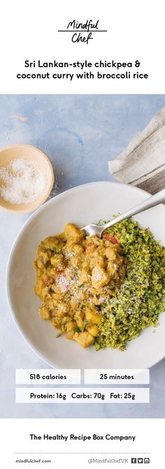 We've created a family favourite red pepper & chickpea Sri Lankan curry, packed with coconut, a great energy source. Served with vibrant brocolli rice, a healthy nutritious alternative to white rice.
