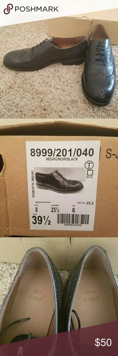 New ZARA black women's shoes size 8 Brand new item with original box The package says size US 8 and EUR 39.5 Zara Shoes Lace Up Boots