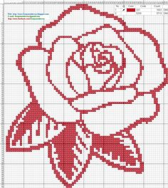 Rosa roja - Patron punto de cruz