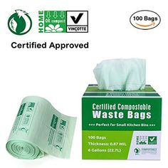 Primode 100% Compostable Bags, 6 Gallon Food Scraps Yard Waste Bags, Extra Thick 0.87 Mil. ASTMD6400 Biodegradable Compost Bags Small Kitchen Trash Bags, Certified By BPI And VINCETTE, (100) Review Compost Bags, Yard Waste, Trash Bag, Green Building, Small Bags, Biodegradable Products, The 100, Personal Care, Kitchen