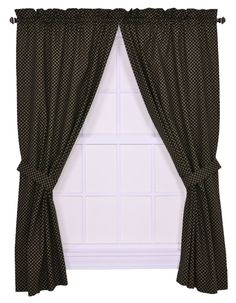 Amazon.com - Tyvek Small Scale Diamond 68 by 72-Inch Tailored Panel Pair Curtains With Tiebacks, Black - Window Treatment Curtains
