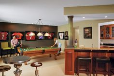 Christian Ponder and Samantha Ponder's Excelsior home basement embraces their personal style. Photo by Susan Gilmore