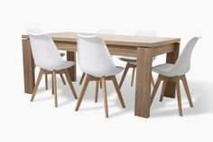 Letta 6 Seater Dining Room Table Dark wood LDF x x cm Nissi White Dining Chair PP seat Beech wood legs x x cm