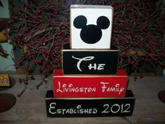 Personalized Mickey Minnie Mouse Disney Family Name Stacker Last Names Kids Names Sign Block Wood Stacking Blocks. $23.99, via Etsy.
