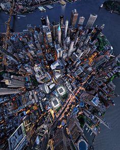 Manhattan birds eye from Lensaloft Photography New York Wallpaper, New York Night, One World Trade Center, Amazing Buildings, Dream City, City Photography, Landscape Photography, Birds Eye View, Science And Nature