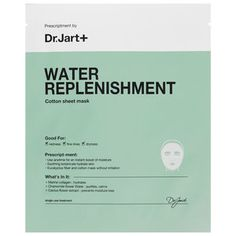 Dr. Jart+ - Water Replenishment Cotton Sheet Mask #sephora What it is: A ultra-hydrating hypoallergenic mask made of natural fiber and botanicals.   What it is formulated to do: Great for all skin types including sensitive skin, Water Replenishment Cotton Sheet Mask contains allantoin and witch hazel for continuous moisture. The soothing bio-cellulose sheet features an immediate cooling sensation, leaving skin feeling clean, hydrated, and completely