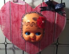Vintage Doll Head on Heart