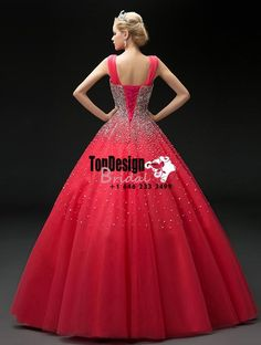 2017 New Beaded Sweet 15 Ball Gown V-Neck Red Satin Tulle Prom Dress Gown Vestidos De 15 Anos