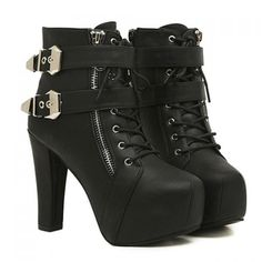 Wholesale Club High Heel and Buckles Design Women's Black Short Boots Only $15.33 Drop Shipping | TrendsGal.com