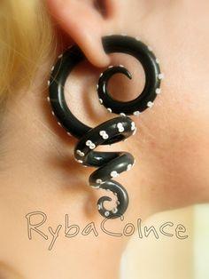 Fake ear tentacle gauges Faux gauge/Gauge di RybaColnce su Etsy
