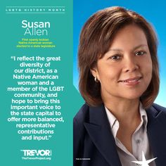 We honor those who represent their identities in the goverment, like Susan Allen, the first lesbian Native American to serve on the state legislature. #LGBTQHistoryMonth