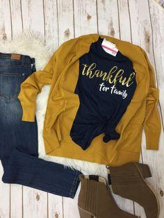 Thanksgiving tshirt and mustard Cardigan! Mustard Cardigan Outfit, Winter Cardigan Outfit, Cardigan Outfits, Mom Shirts, T Shirts For Women, Clothes For Women, Fall Clothes, Fall Fashion Trends, Autumn Fashion